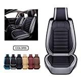OASIS AUTO Leather Car Seat Covers, Faux Leatherette Automotive Vehicle Cushion Cover for Cars SUV Pick-up Truck Universal Fit Set for Auto Interior Accessories (OS-012 Front Pairs, Gray)