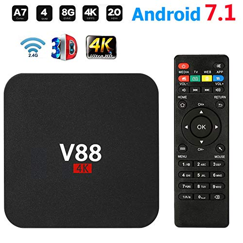 Meele V88 Android 7.1 TV Box RK3229 Quad Core Smart TV Box 1GB + 8GB HD WiFi Reproductor Decodificador Multimedia Cine en Casa 3D Entretenimiento de Juegos,Negro