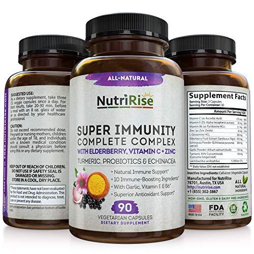 Immunity Complex Immune Support Supplement - 10 Super-Concentrated Ingredients: Vitamin C E B6 Zinc L-Glutamine Elderberry Echinacea Garlic Turmeric Curcumin 7.2 Billion CFU Probiotics For Men & Women