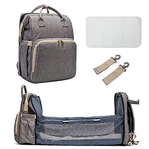 4 en 1 Cuna de viaje de bebé multifuncional, bolsa de cambio de bebé y cuna, colchoneta portátil que cambia la mochila de la bolsa de la momia, cama de cuna plegable, cuna portátil para bebé, con colc