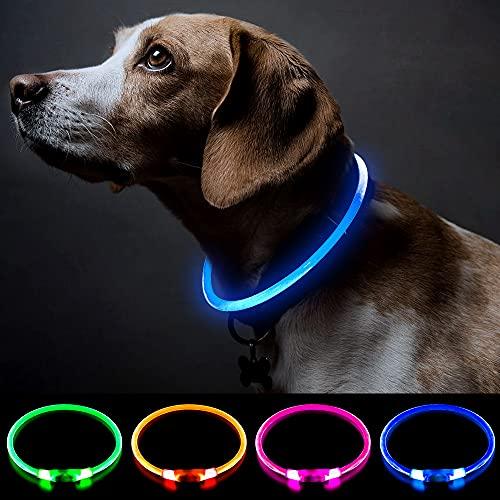 Collar de perro con luz recargable para perros con luz de trabajo de seguridad personalizada con USB recargable Super brillante collar intermitente para perro 4 colores luces para caminar por la noche