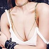 Sethain Punk Metal Cuerpo Cadena Oro Cruzar Sostén Cadenas Bikini Cofre Cuerpo Accesorios Joyería para mujeres y niñas