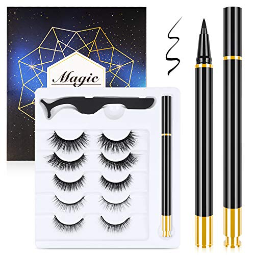 Magnetic Eyelashes and Magnetic Eyeliner Kit, 5 Pairs Reusable Natural Look Magnetic Eyelashes with Eyeliner, Upgraded 3D No Glue Magnetic lashes Kit With Tweezers Inside