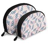 JUKIL Summer Leaf Set de 2 Bolsas de Maquillaje Set para Viajes y Almacenamiento Diario Shell Shell Handy Cosmetic Pouch Case