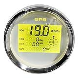 Velocímetro GPS digital de 85 mm Odómetro Velocímetro GPS digital LCD Retroiluminación de 8 colores 0-999 nudos KM/H MPH 12V / 24V Esfera blanca