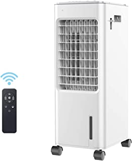 WANGSHI Enfriador Evaporativo Interior con Control Remoto, Ventilador de Aire Acondicionado con Velocidad Baja/Media/Alta Ajustable, Manija Oculta y Ruedas
