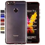 COOVY® Cover für Huawei Honor 7X leichtes, ultradünnes TPU Silikon Bumper Hülle, transparent, Chrom Rahmen | Farbe Rosegold
