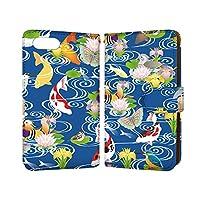 anve OPPO R15 Neo R15 Neo 国内生産 カード スマホケース 手帳型 OPPO オッポ オッポ アールフィフティーン ネオ 【D.ブルー】 鳥 鯉 蓮 花 水辺 best_vc-261_sp