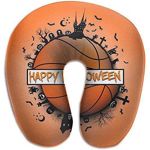 Marlon Kitty Happy Halloween and Basketball Ball Almohada en Forma de U Cuello Almohada de Viaje Espuma de Memoria para Adultos Viajes