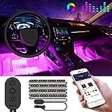 Luz Interior Coche con APP, Govee Tira LED Iluminación Impermeable 48 LED RGB 5050 Música...