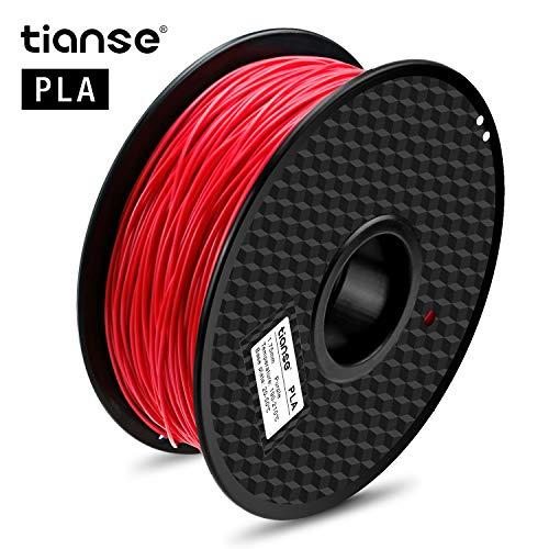 TIANSE Red PLA 3D Printer Filament, 1kg Spule, 1.75mm, Dimensional Accuracy +/- 0.03mm