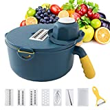 Vegetable chopper mandoline slicer Variety of cutter grater use for cheese grater French fry cutter onion chopper potato Slicer 8 in 1 Multipurpose kitchen tool. Protect BPA-Free Blue