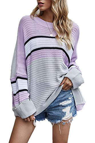 HVEPUO 2020 Winter Fashion Knit Sweater Casual Crewneck Cropped Long Sleeve Pullover Comfy Pastel Striped Color Block Winter Outfits for Womens Purple M