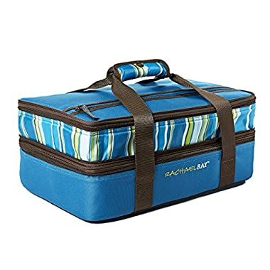 Rachael Ray Expandable Lasagna Lugger, Double Casserole Carrier for Potluck Parties, Picnics, Tailgates - Fits two 9 x13  Casserole Dishes, Marine Blue Stripe