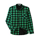OCHENTA Men's Button Down Flannel Plaid Shirt, Long Sleeve Sherpa Lined Shirt...