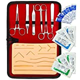 Complete Suture Practice Kit for Medical and Vet Students - Reusable Skin Simulation Silicon Pad 4th Gen with Pre-Cut Wounds, Full Set of Essentials Stainless Still Suturing Tools