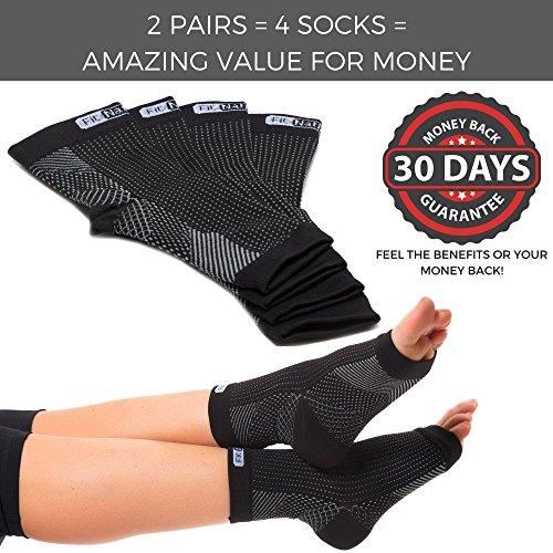 FIT NATION - (2 Paar Kompressionssocken/Fußgelenk Bandage für effektive Kompression beim Laufen & Sport - Kompressionsstrümpfe für Damen & Herren Schwarz S/M - 5