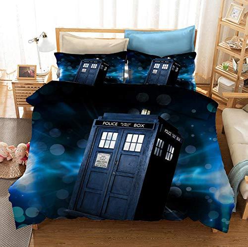 Juego de cama con funda nórdica con impresión 3D Doctor Who, funda nórdica de cama doble individual para niños adultos adolescentes, juego de cama decorativo para dormitorio de-I_230x260cm (3p