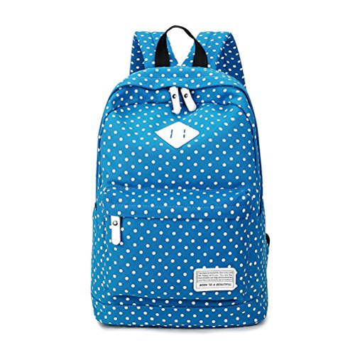 Umily Canvas Backpack Travel School Shoulder Bag Teenage Bags for 14'-15' Laptop PC A4 Magazine iPad 3/4/Air-Light Blue