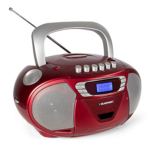 Blaupunkt B 110 CD Player Kinder | mit USB | mit Radio | Hörbuch Funktion | Kassettenplayer | tragbar | Aux In | CD Spieler | Kopfhöreranschlus | LED-Display | 2x 2,2 Watt RMS | PLL UKW Tuner | Rot