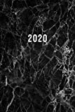 2020: ENE - DIC Planificador Semanal | 1 Semana en 2 Páginas | Agenda Semana Vista | Calendario Organizador A5 | Mármol Negro