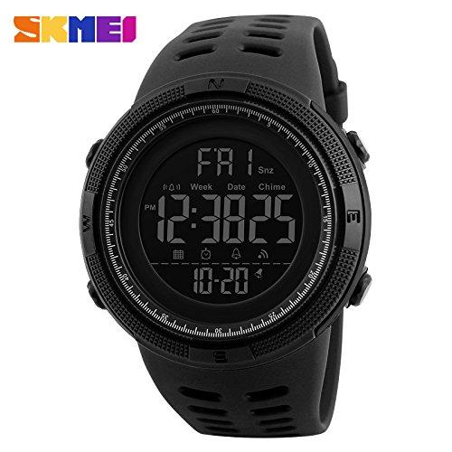 Reloj Deportivo Luminoso Impermeable Digital para Deportes Al Aire Libre con Cronógrafo para Hombre Negro