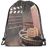Dusk Fort Mochilas con Cordón Impresas Bolsas, Objetos De Entretenimiento A La Antigua Usanza Relacionados con El Cine Carrete De Película Película, Cierre De Cuerda Ajustable
