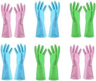 TopBine 6 par gumowych rękawic, gumowych rękawiczek do czyszczenia, do gospodarstwa domowego, kuchni, wodoszczelne, rękawi...
