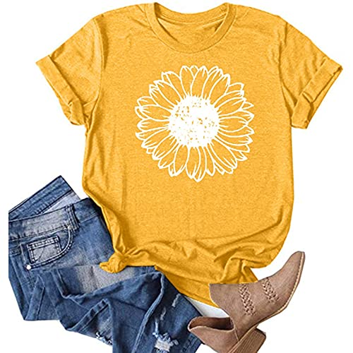 OutTop Women Tops Summer Casual Short Sleeve Sunflower Graphic Tees Workout Shirts Blouses Womens Crewneck Tshirts (B-Yellow, S)