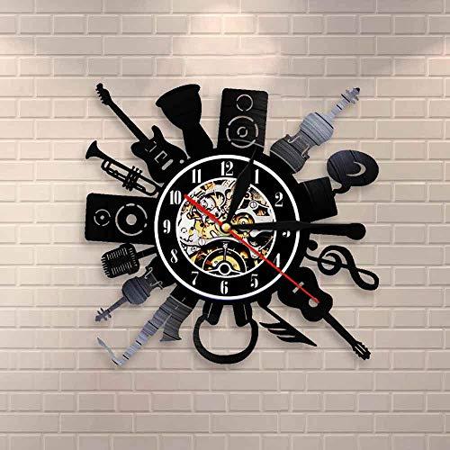 Reloj de pared de guitarra eléctrica acústica para decoración de pared, Punk Rock n Roll Heavy Metal Music Vinilo Record Reloj de pared Banda de música regalo