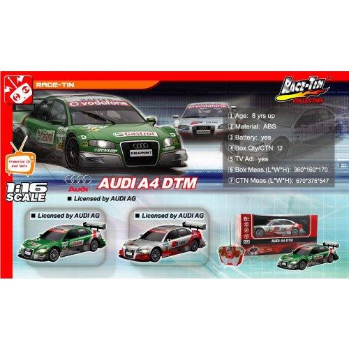RC Auto kaufen Tourenwagen Bild 4: Audi A4 DTM RC ferngesteuertes Lizenz Fahrzeug im Original Design, Modell Ma stab 1 16, Ready to Drive, Auto inkl Fernsteuerung*