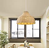 ZXM Dimensiones Lámpara Colgante Colgante Nordic Lámpara De Forma Tropical De Mimbre Pantalla DIY E27 60W Ø 34 X 23 Cm H Rattan Lámpara Colgante (Madera Natural) Hängeleuchte