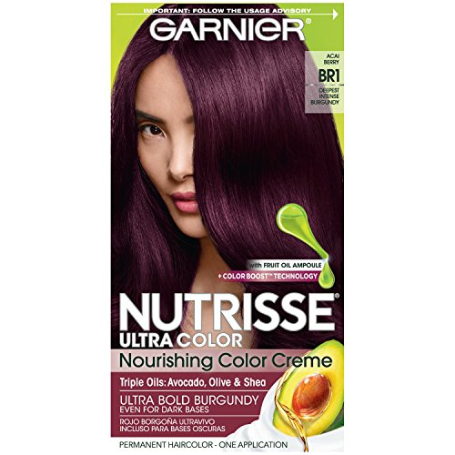 Garnier Nutrisse Ultra Color Nourishing Permanent Hair Color Cream, BR1 Deepest Intense Burgundy (1 Kit) Red Hair Dye (Packaging May Vary), 1 Count