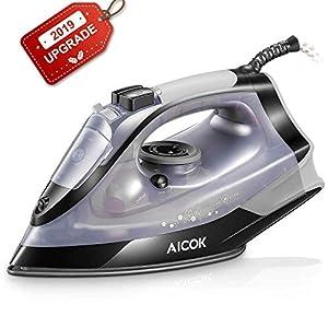 Aicok – Plancha de vapor, 2500 W (MAX), con depósito de agua de 300 ml, suela antiadherente, autolimpieza, antical, golpe de vapor de hasta 130 g/min, antigoteo [clase energética A+++]