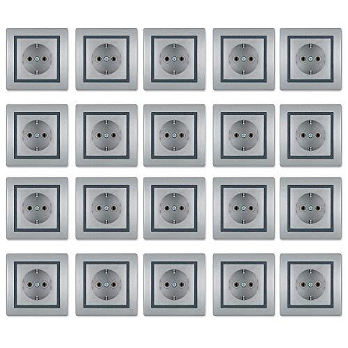 ALING-CONEL - Set de 20 botones, color plateado, gris y plateado