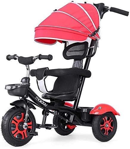 Cxjff Cochecito de niños de la Bicicleta, Triciclo 1/2/3/6 Año Kid Vieja Luz multifunción Triciclo Niños con la Cerca Toldo de Seguridad del Sistema de Frenos (Color : Red)