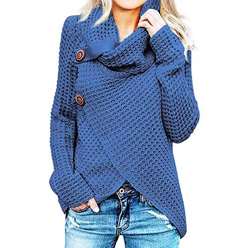 iHENGH Damen Herbst Winter Übergangs Warm Bequem Slim Lässig Stilvoll Frauen Langarm Solid Sweatshirt Pullover Tops Bluse Shirt (XL, A Blau)