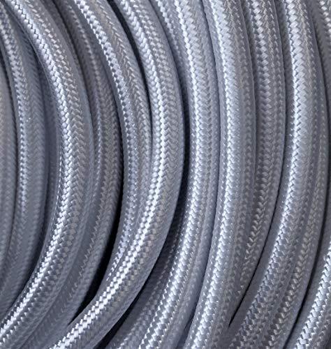 Kopp Meter Textil-Leitung 3 adrig H03 VV-F 3 x 0,75 mm², Länge 2 m, Stoff-Kabel für Lampe, 250V, Silber, 151502123