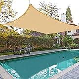 EMMORLA Tende da Sole per Esterno Impermeabile 3×5 m Vela Ombreggiante Rettangolare Tenda da Vela Parasol Protezione UV Tenda a Vela per Giardino Balcone Terrazza Campeggio Esterno, Beige