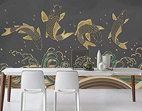 ZZXIAO Chinesische Linie Welle Fisch Badezimmer Tapete Schlafzimmer Tapete Wohnzimmer Küche Tapete wandpapier fototapete 3d effekt tapete Wohnzimmer Schlafzimmer Hintergrundbild-350cm×256cm