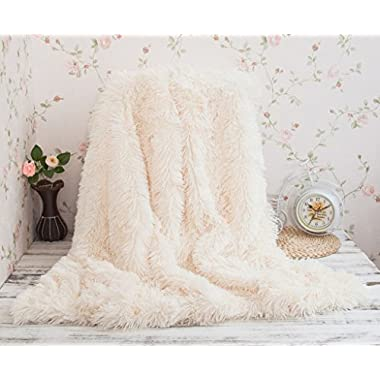 Soffte Cloud Super Soft Long Shaggy Warm Plush Fannel Blanket Throw Qulit Cozy Couch Blanket for Winter Cream(51 x63 )