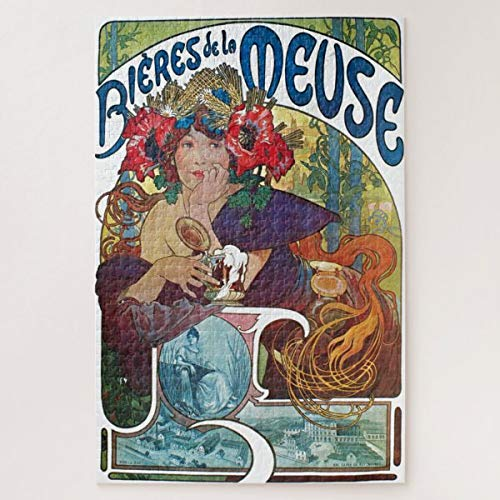 CiCiDi Vintage Beer Art Nouveau Alphonse Mucha Art Jigsaw Puzzle 1000 Pieces for Adult Entertainment DIY Toys , Graet Gift Home Decor
