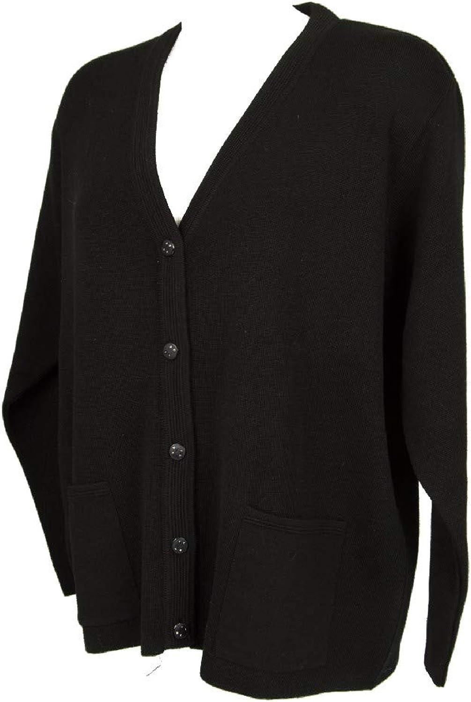 BERNARDINI Women's Open Wool Blend Jacket with VNeck Long Sleeve Buttons Article 63 172