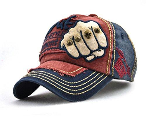 Los hombres de la gorra de béisbol envejecido con erizo remaches de esqueleto humano sombrero, gorra de béisbol algodón, visera, gorra de hip-hop, gorra Trucker gorro, sombrero de senderismo, 3color, rojo, medium (Ropa)