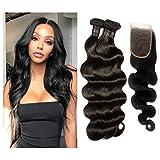 STfantasy Human Hair Bundles with Closure Body Wave Brazilian Virgin Hair Unprocessed Hair Extensions Natural Color