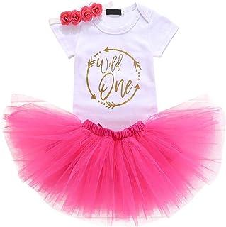 ODASDO Newborn Infant Baby Girls First Birthday Outfit One Year Party Cake Smash Tutu Skirt Headband Set Photo Props