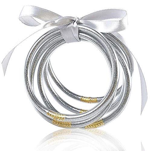 MJARTORIA Glitter Jelly Bangles Bracelets Set Glitter Filled Jelly Silicone Bracelets for Women Girls (Silver)