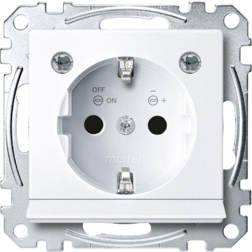 Merten MEG2304-0325 SCHUKO-Steckd. m. Lichtausl. u. LED-Bel.-Modul, BRS, StK, aktivws. glänz,Sys. M