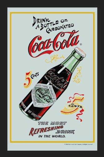 empireposter Coca Cola 5 Cents - Bedruckter Spiegel mit Kunststoff Rahmen in Holzoptik, Kult-Spiegel - Grösse 20x30 cm
