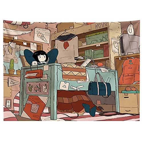 Kawaii Juego Chica Tapiz de Dibujos Animados cabecera Pared Arte Colcha Dormitorio Tapiz Sala de Estar Dormitorio decoración del hogar A12 95x73cm